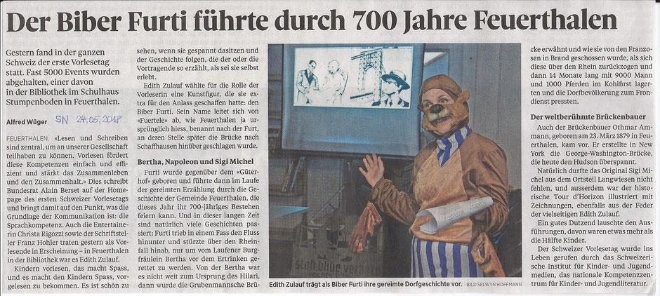 Schweizer Vorlesetag - zusammen mit Furti durch die Geschichte von Feuerthalen, 23.05.2018