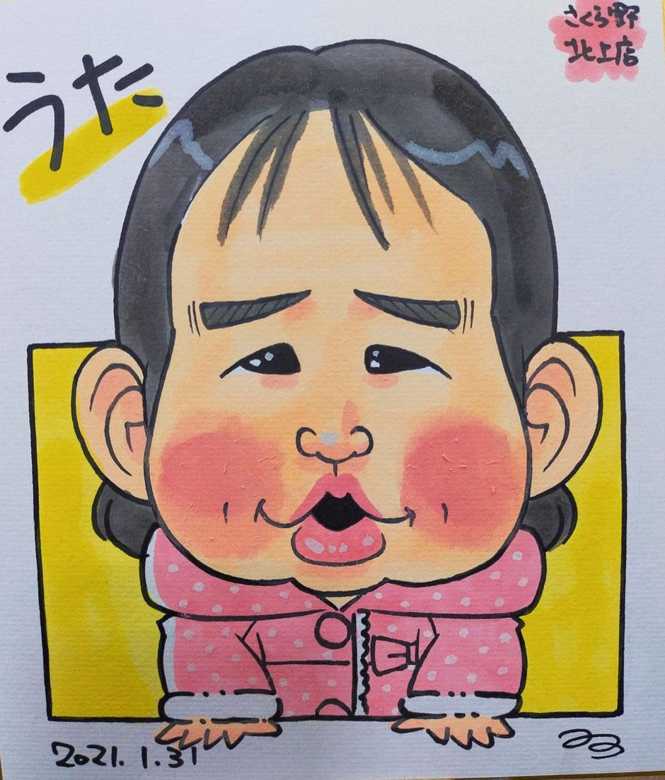岩手県のさくら野百貨店・北上店で描いた女の子の似顔絵