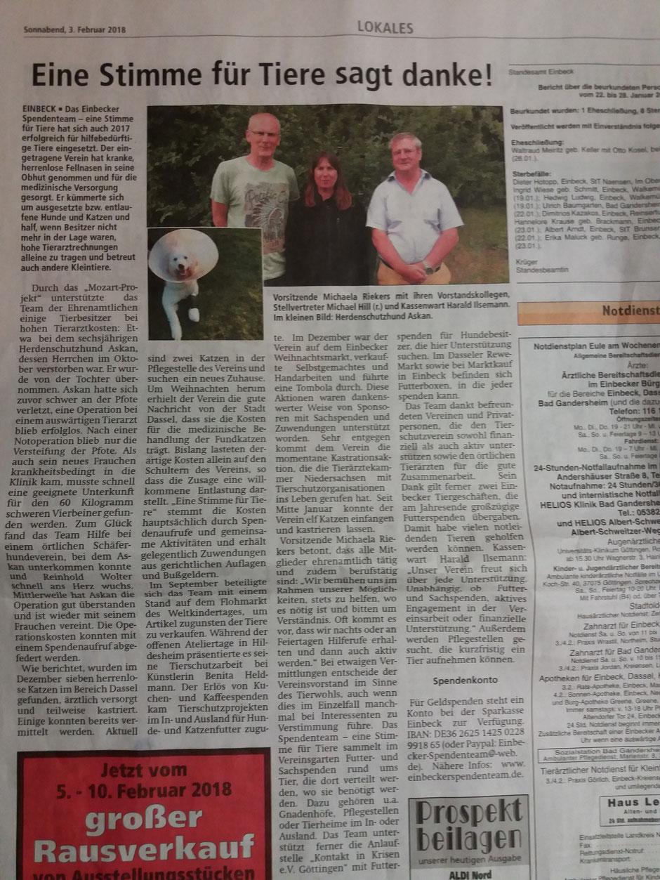 Artikel in der Einbecker Eule vom 03.02.18