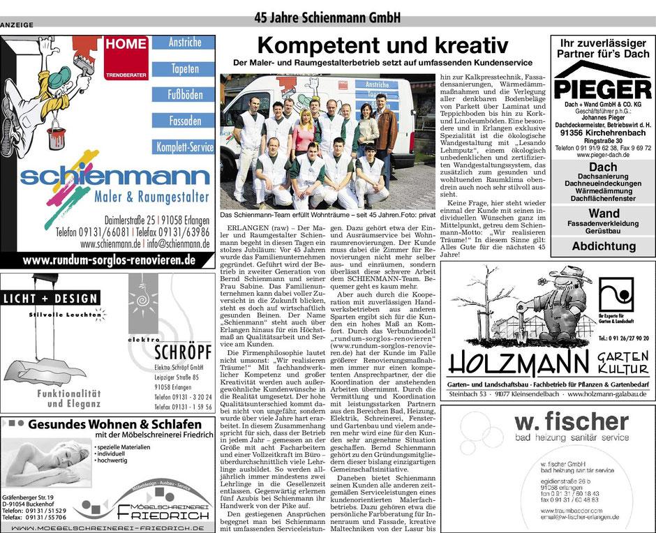 Artikel in den Erlanger Nachrichten: 45 Jahre Schienmann GmbH