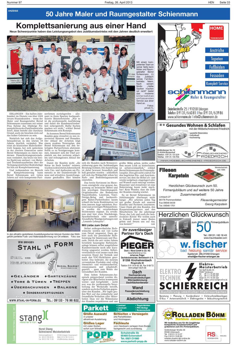Artikel in den Erlanger Nachrichten: 50 Jahre Maler und Raumgestalter Schienmann