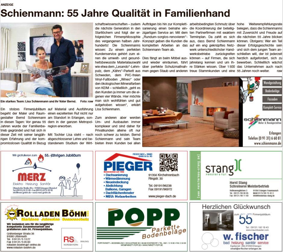 Artikel in den Erlanger Nachrichten: Schienmann: 55 Jahre Qualität in Familienhand