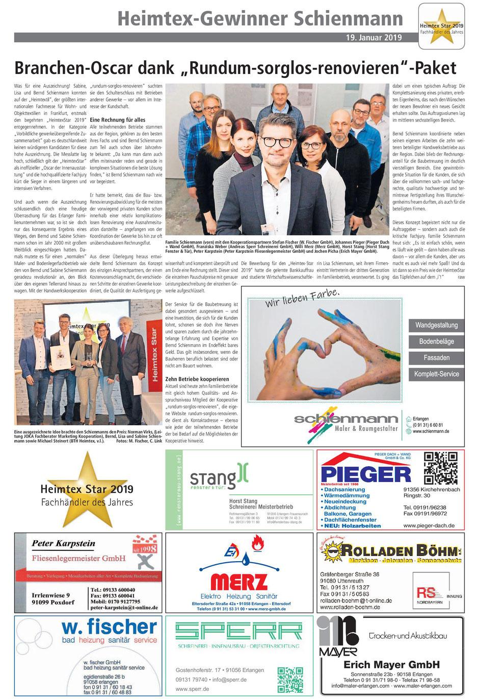 Artikel in den Erlanger Nachrichten: Heimtex-Gewinner Schienmann