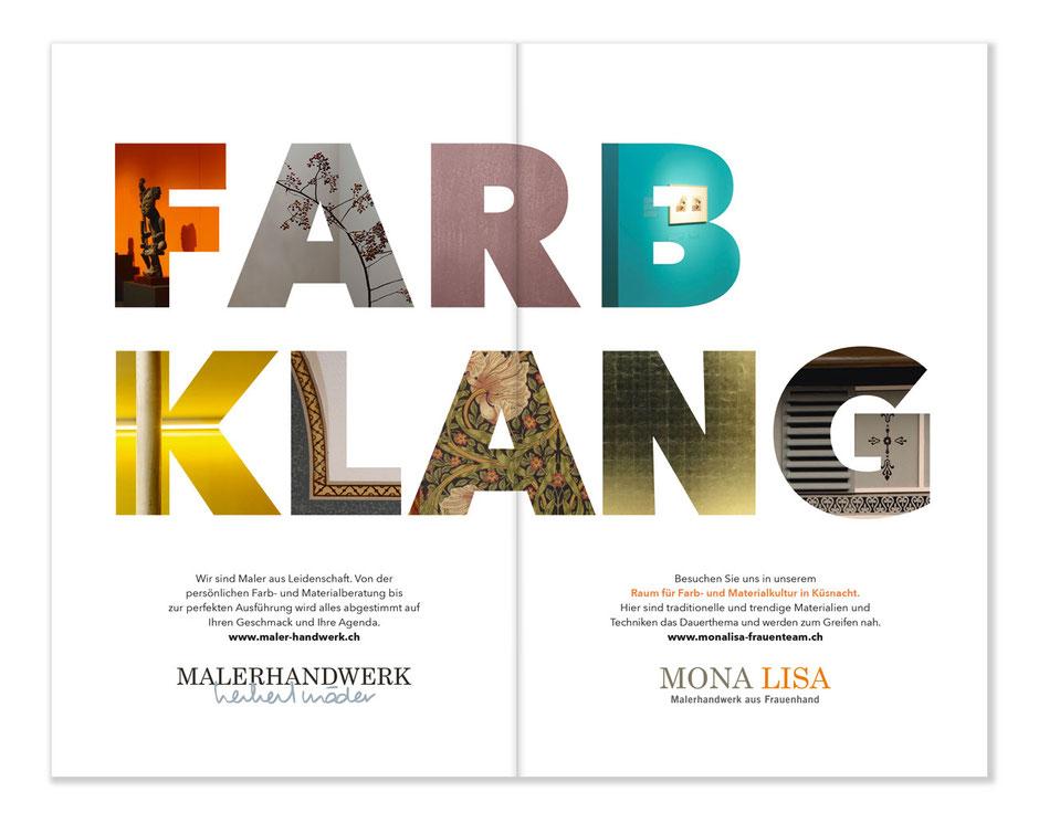 Inserat Programmheft Klassikefstival Küsnacht für MALERHANDWERK Herbert Mäder und MONA LISA Malerhandwerk aus Frauenhand