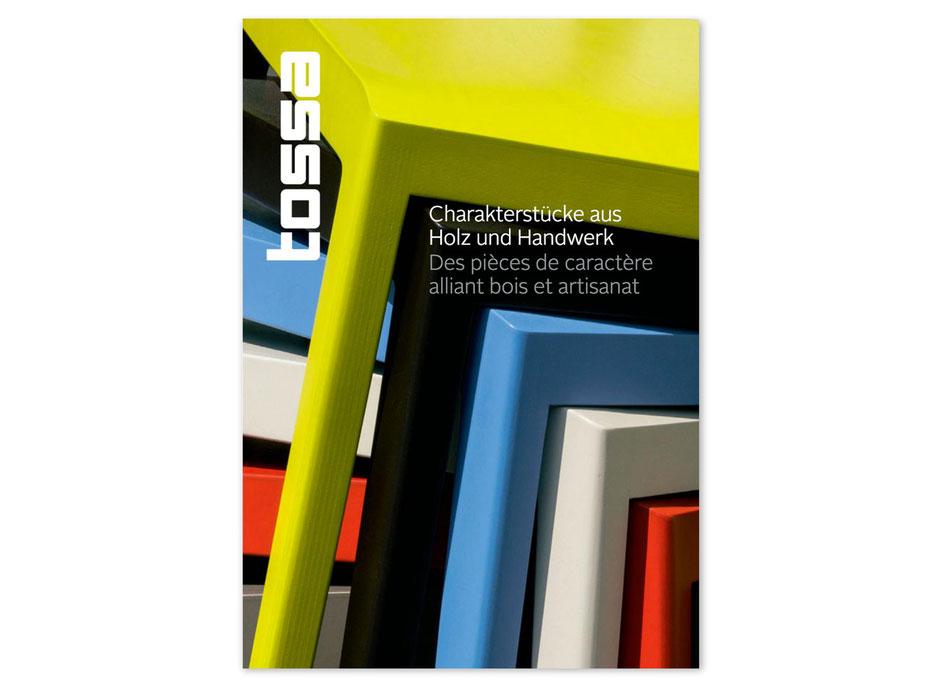Editorial Design Broschüre: Charakterstücke aus Holz und Handwerk von Tossa