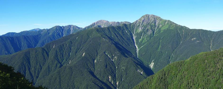 観音ヶ岳から白根三山