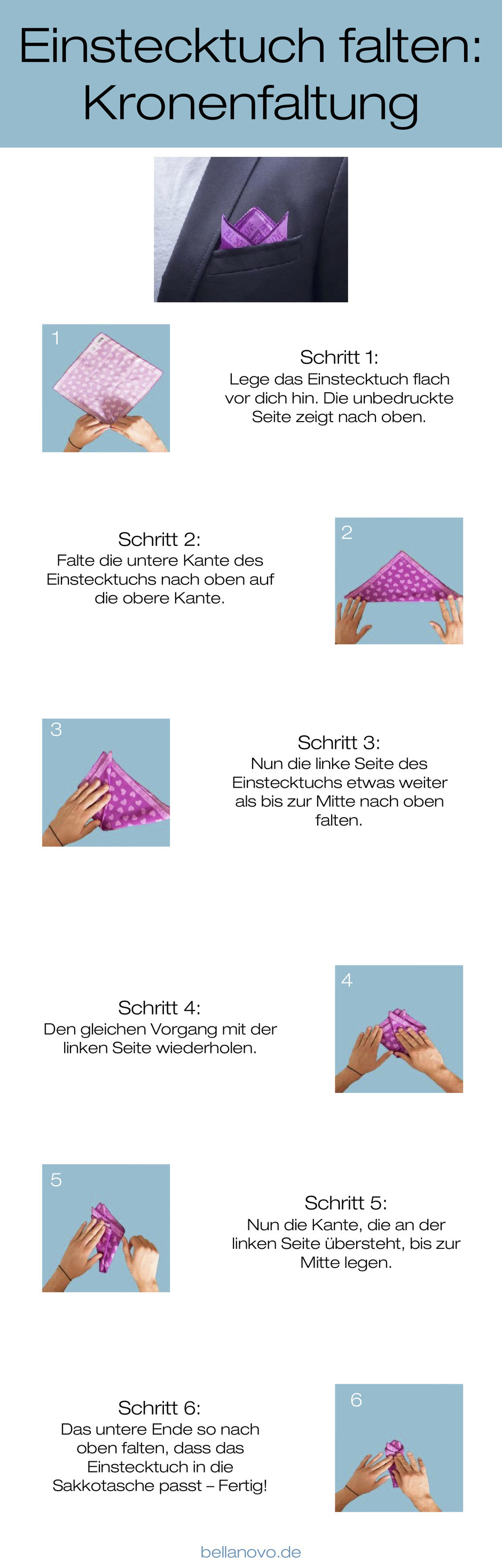 Anleitung Einstecktuch falten: Kronenfaltung