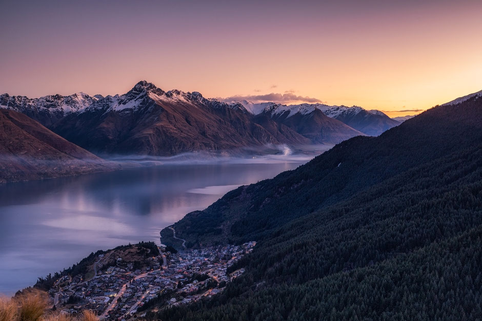 Queenstown and Lake Wakatipu at Sunset. New Zealand Photography Workshop