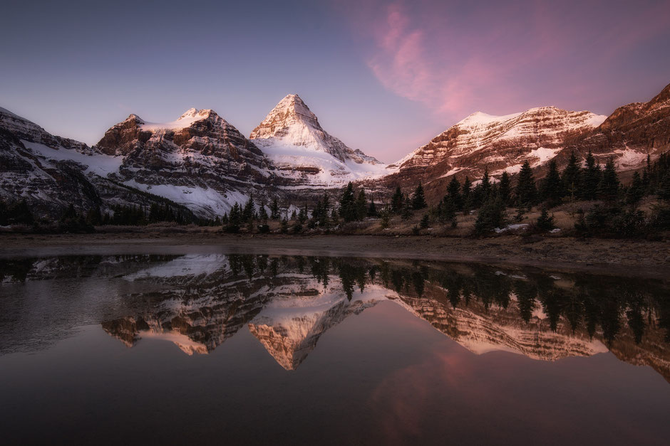 Mount Assiniboine reflecting in lake Magog. Mount Assiniboine Photography workshop