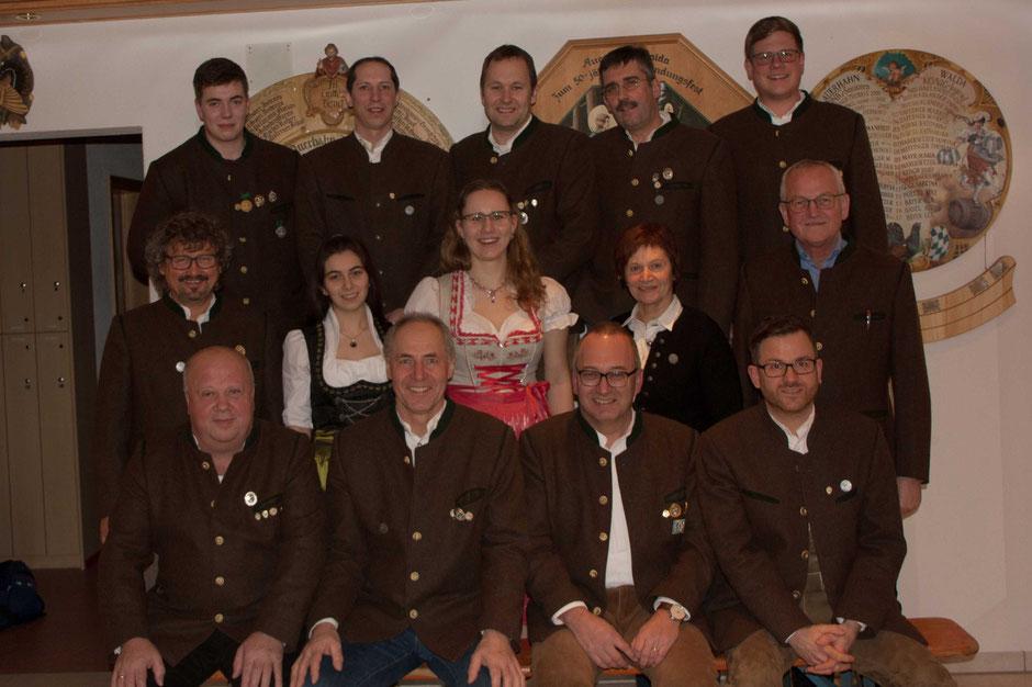 Die neu gewählte Vorstandschaft des Schützenvereins Auerhahn Walda 1949 e. V. für die kommenden drei Jahre.