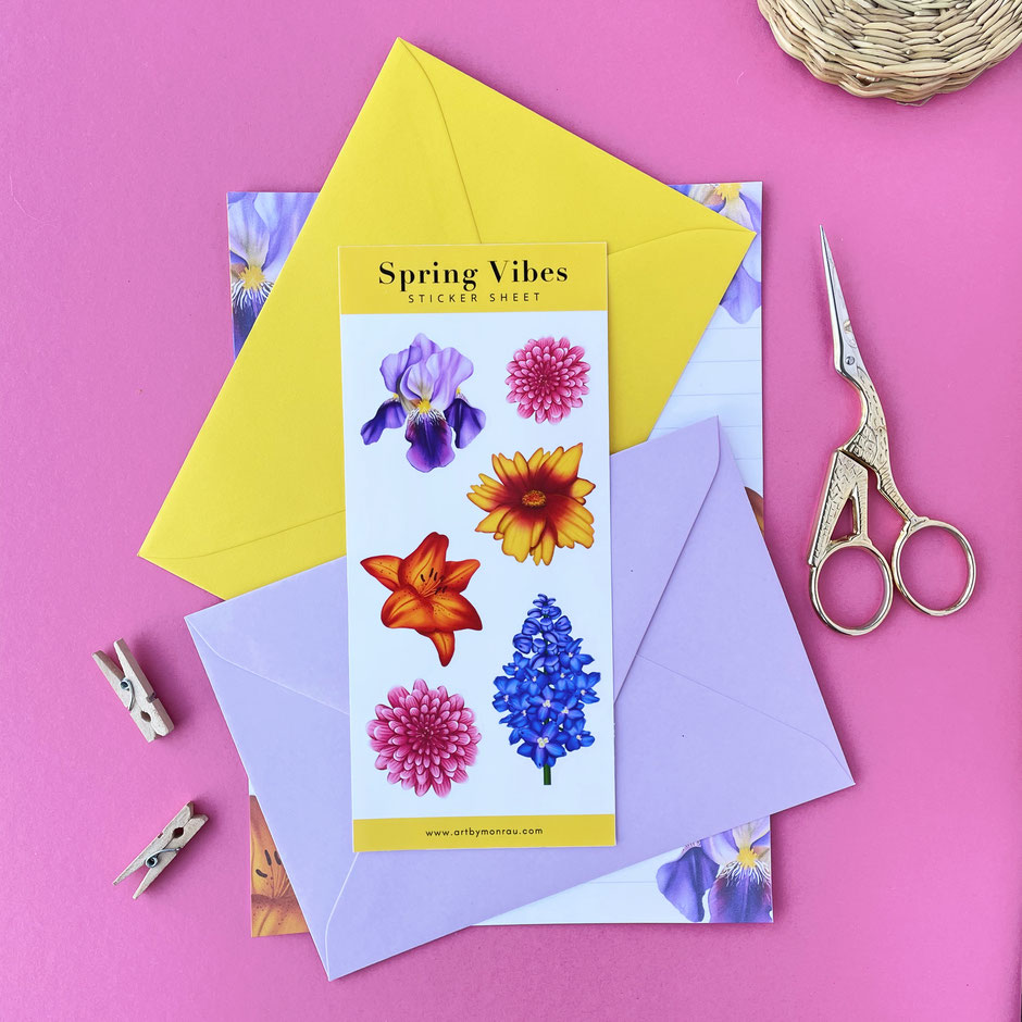 colorful flower illustrated stationery set
