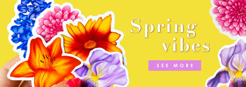 colorful spring vibes collection with flower illustration