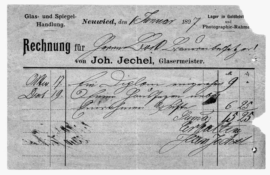 Rechnung von Glasermeister Joh. Jechel aus dem Jahr 1897