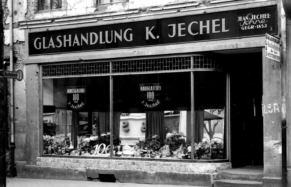 Das Ladengeschäft in Neuwied zum 100. Jubiläum im Jahr 1952