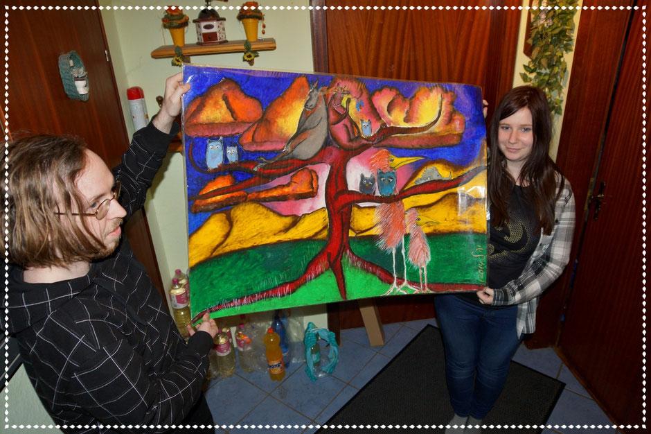 Svantje am 18. Geburtstag mit Friends, Ölpastell auf Papier, 70x100cm, 2014