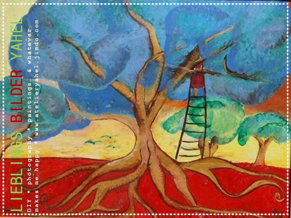 Utes Blauer Baum, Ölpastell auf Papier, 70x100cm, 2015