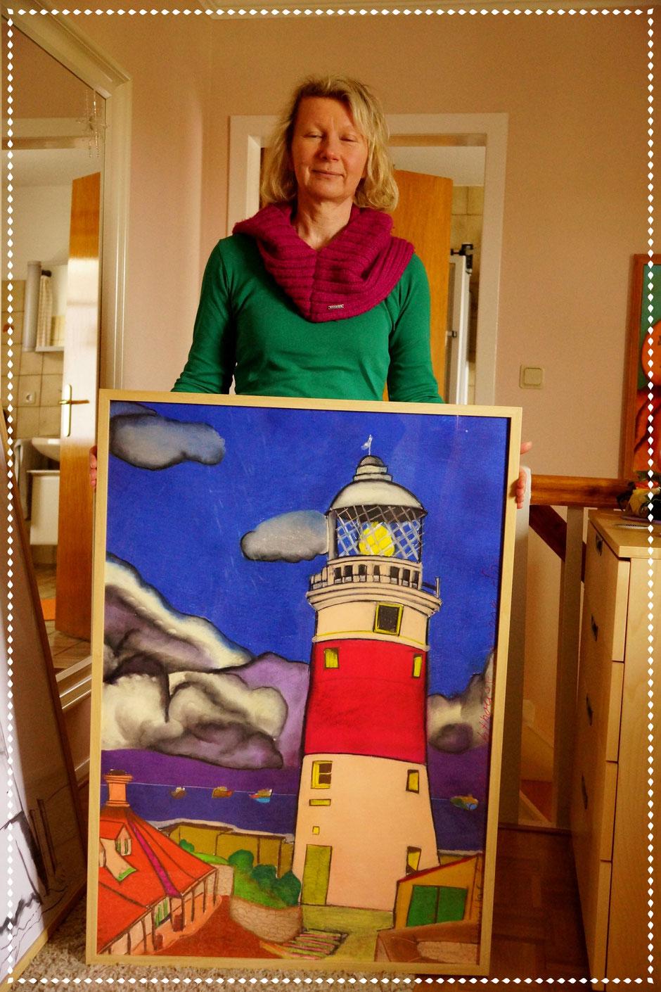 Uta mit ihrem Leuchtturm EuropaPoint auf Gibraltar, Pastellkreide auf Papier, 100x70cm, 2014