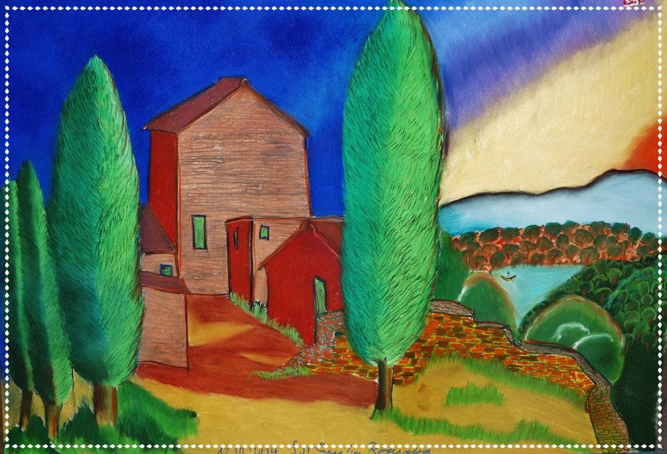 Gittes Emiglia Romana, Pastellkreide auf Papier, 70x100cm, 2014