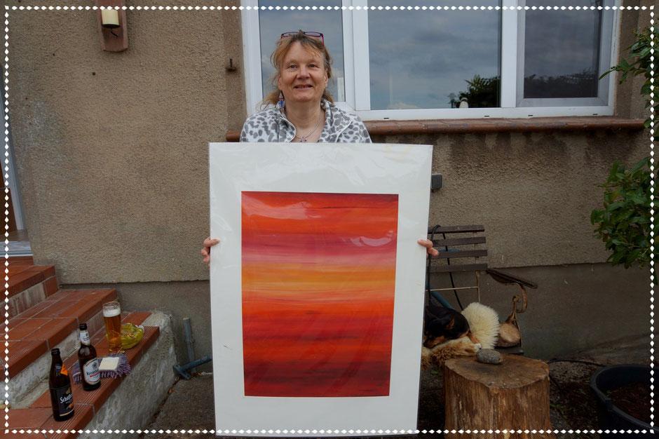Tine mit ihrem Universum, Öl auf Papier, 70x50cm, 2011
