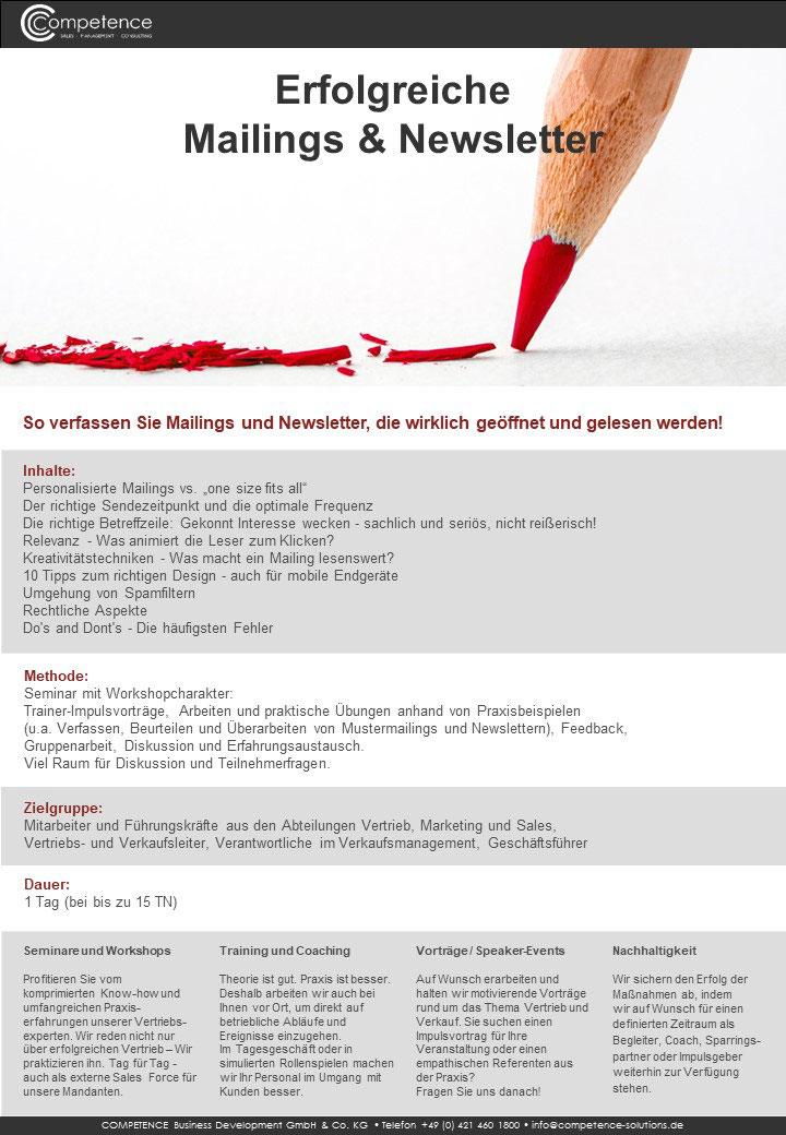 Seminar erfolgreiche Mailings & Newsletter