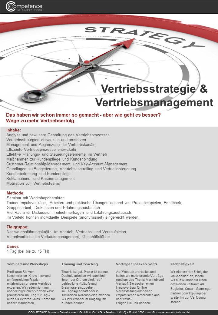 Seminar Vertriebsstrategie & Vertriebsmanagement