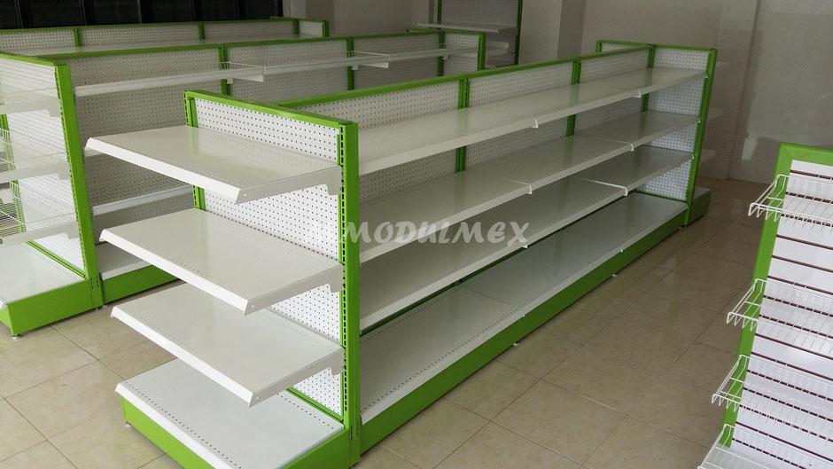 Estantes metálicos para tiendas de conveniencia tipo Oxxo.