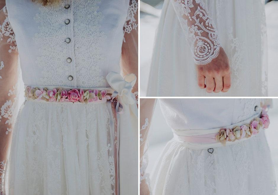 Dirndl, Brautdirndl, hochgeschlossenes Hochzeitsdirndl lang mit weißer Spitzenschürze Fiss Brautpaar Borte  Blumengürtel