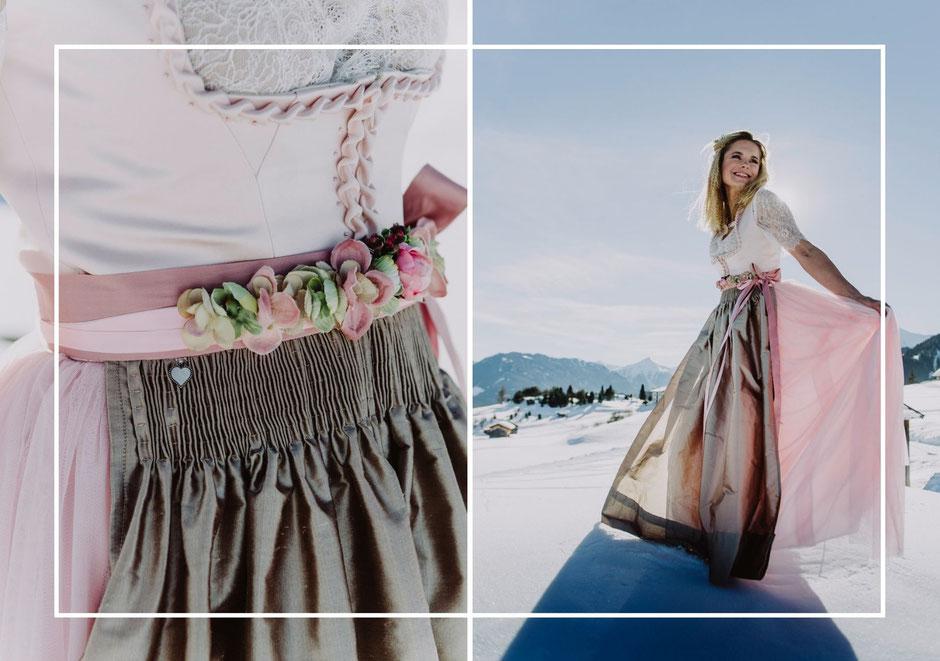 Dirndl, Brautdirndl, Hochzeitsdirndl lang in der Farbe Peach aus Satin und Tüll mit gestiftelter Seidenschürze Berge Braut Borte  Perlen Blumengürtel
