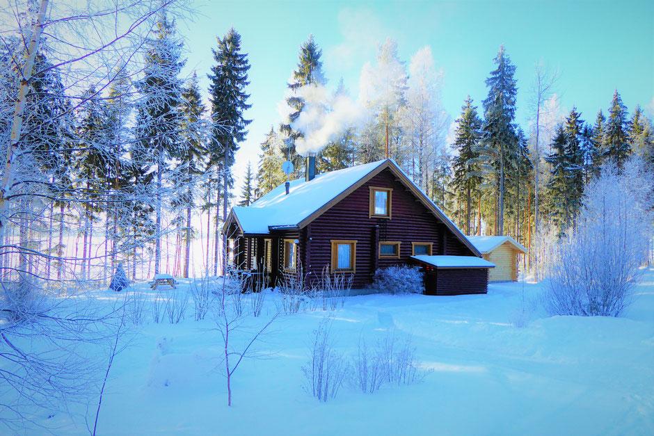 Winter See Finnland Ferienhaus