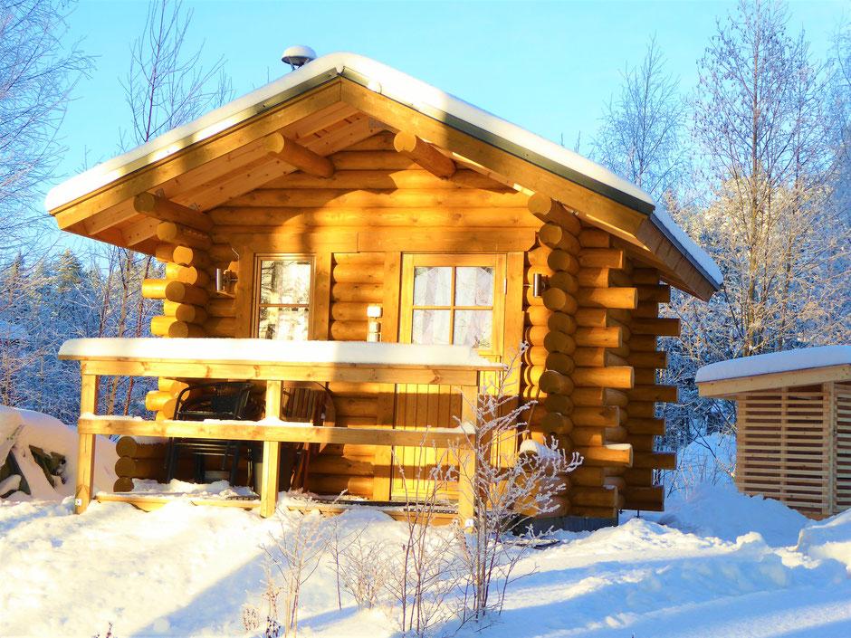 Blockhaus Sauna Winter Finnland