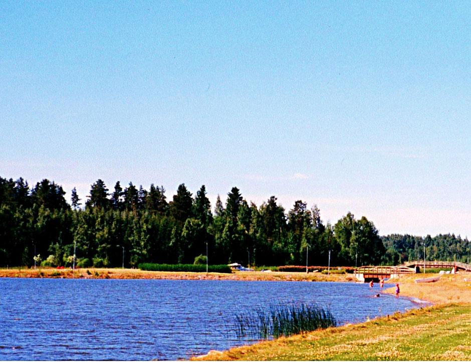 Sandstrand am See Gemeinde Sysmä Finnland