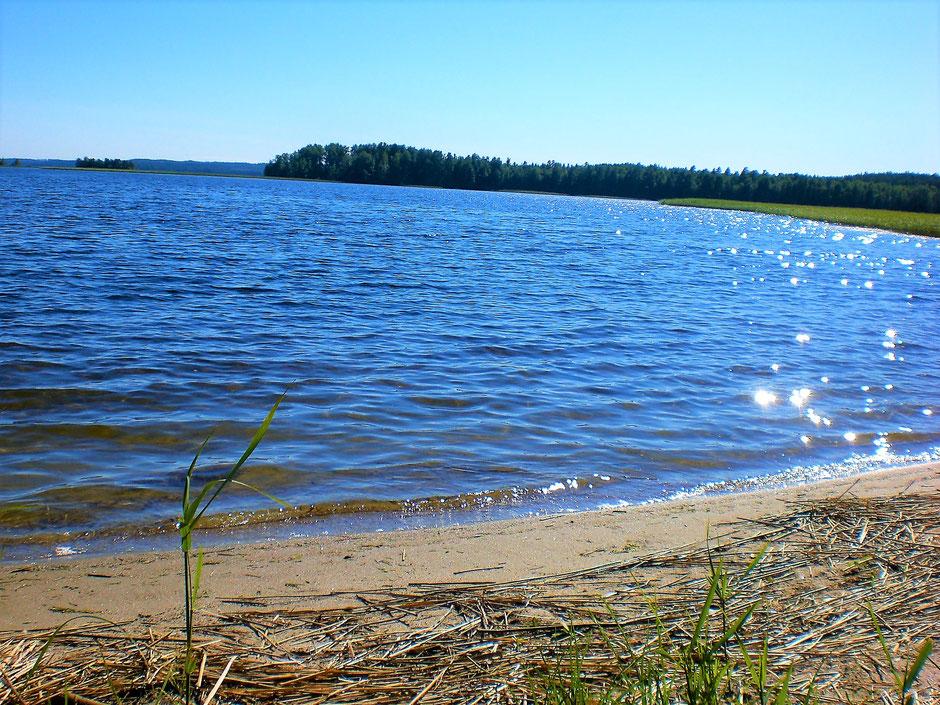 Sandstrand am See Insel Kelvenne Päijänne See Finnland