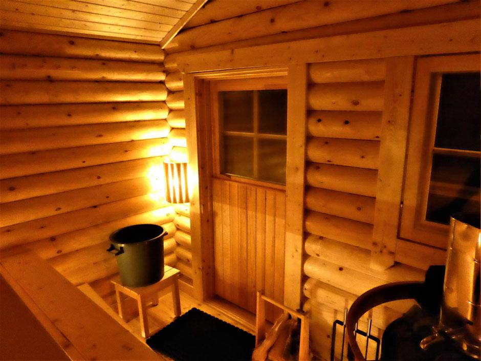 Blockhaus Sauna innen