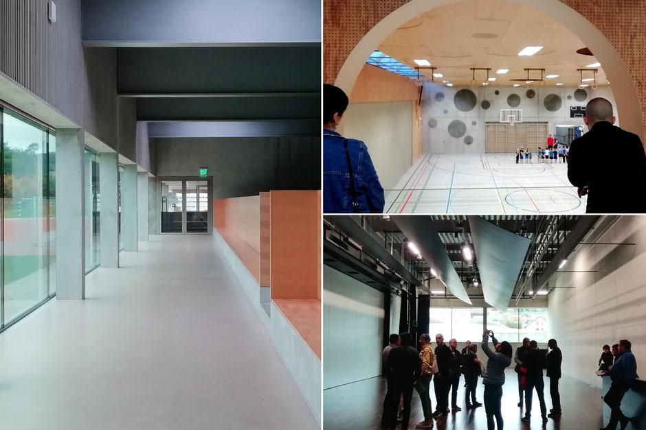 links und unten: Mehrzweckhalle Brühl in Gebenstorf von Frei & Ehrensperger Architekten,           oben: Mehzwechhalle Eichi in Niederglatt von L3P Architekten