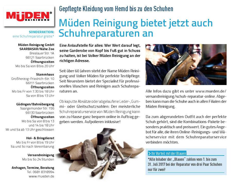 mueden.de, Presse, Juni 2017, Bild von Blaues Magazin, Schuhreparatur
