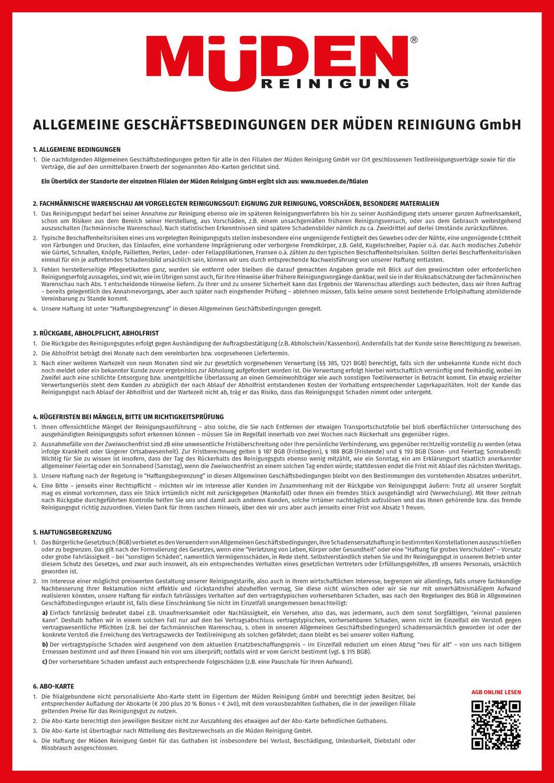 mueden.de, Info, AGB Zusammenfassung, Bild AGB Textilreinigung