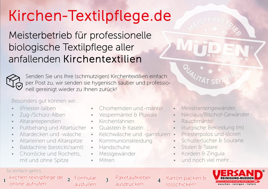 mueden.de, Kirche, Flyer Kirchen-Textilpflege in rosa