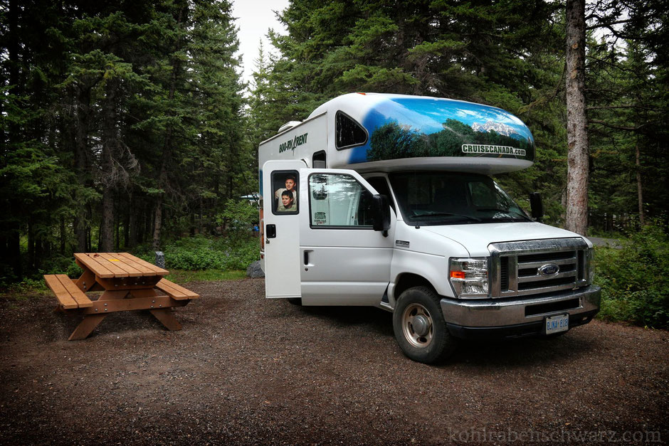 Unser Camper auf dem Bow Valley Campground