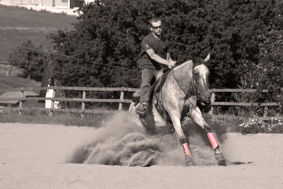 Reini Hochreiter beim Sliding Stopp mit Squalaw, einem Pferd ohne Papier, das ihn überrascht hat. Foto: Maria Appenzeller