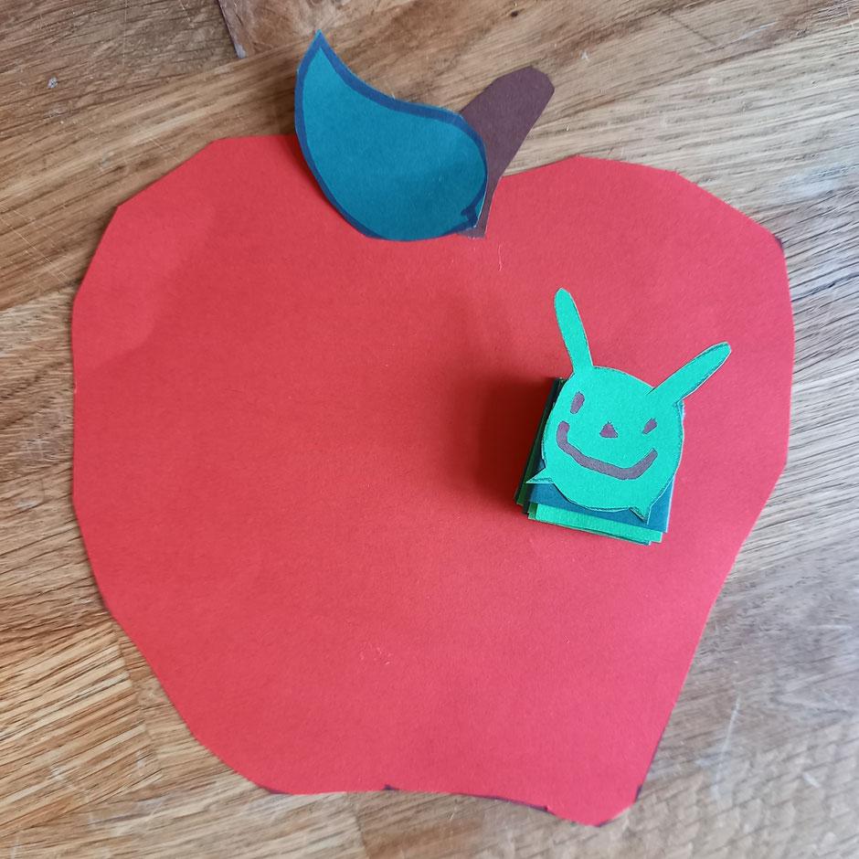 Basteln Apfel Wurm Kinder Anleitung