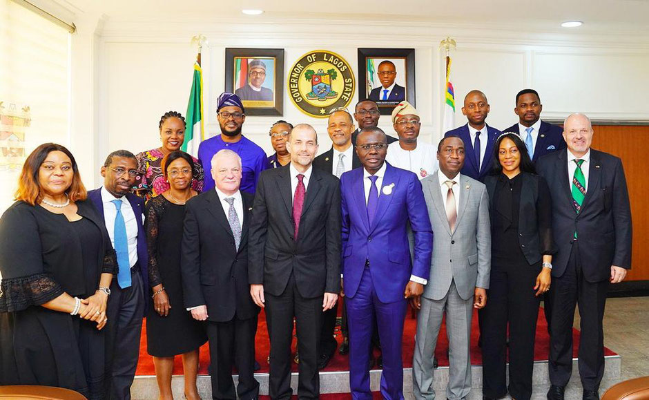 2019 Visit to the Governor of Lagos H.E. Babajide Sanwo-Olu, with Swiss Ambassador H.E. Georg Steiner, Consul General Yves Nicolet and SNBC President Jacques Piekarski