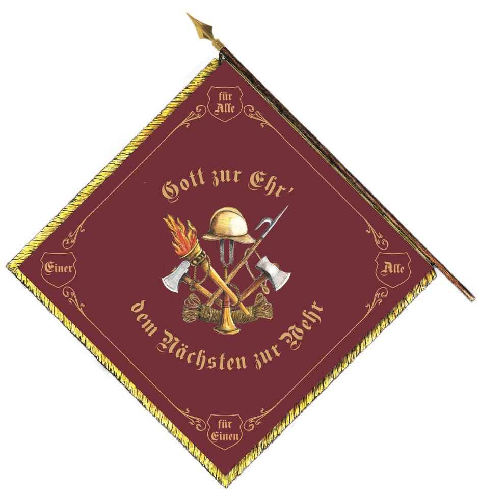 Die Rückseite der neuen Fahne für die Aldinger Feuerwehr
