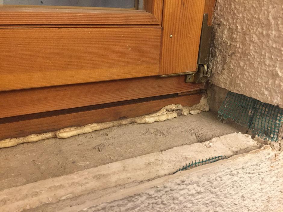 Holzfensterbank aufkleben Vorbereitung
