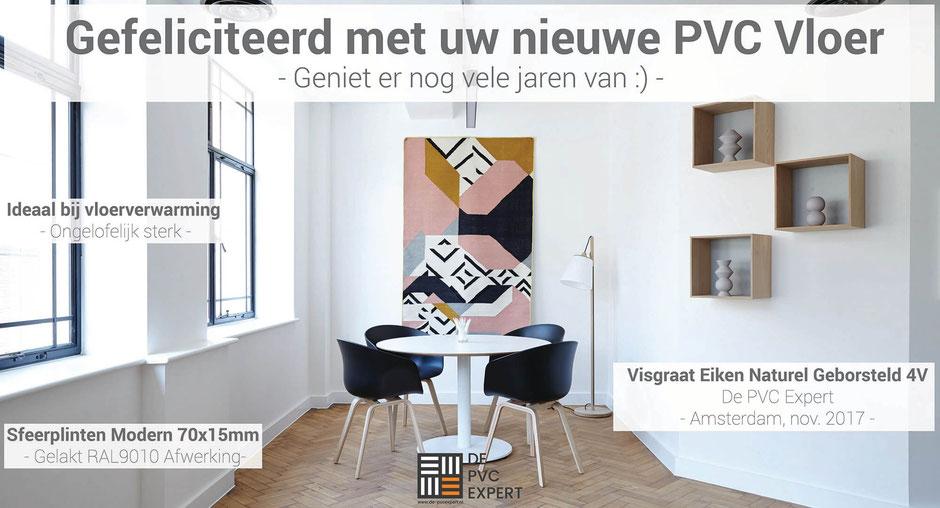Visgraat pvc vloer gelegd door de pvc expert in 2017 in Amsterdam