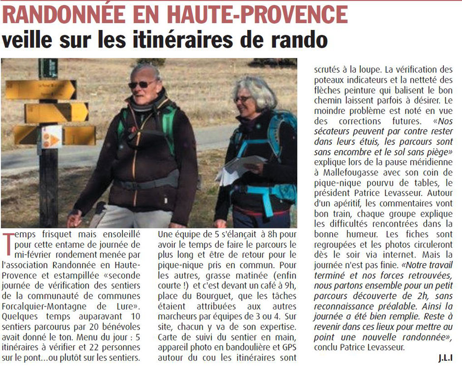 Haute-Provence-Info  --  02 au 08 mars 2018 -- Vérification des sentiers de la Communauté de Communes