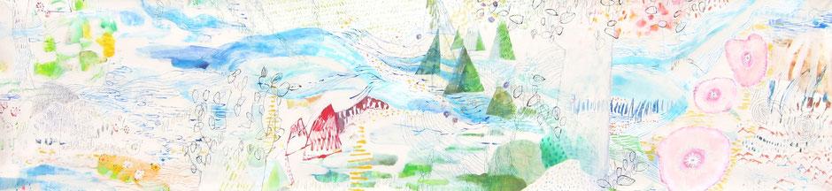《garden》 キャンバスにアクリル絵の具、ペン、インク 600mm×2500mm/2014