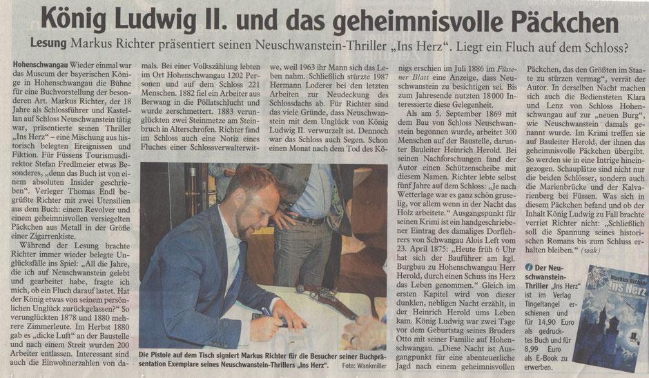 """Bericht zur Buchpräsentation von """"Ins Herz -Neuschwanstein Thriller"""" in der Allgäuer Zeitung"""