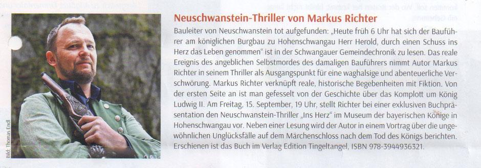 """Bericht zum Neuschwanstein Thriller """"Ins Herz"""" im Magazin Griaßdi - Ausgabe August/September 2017"""