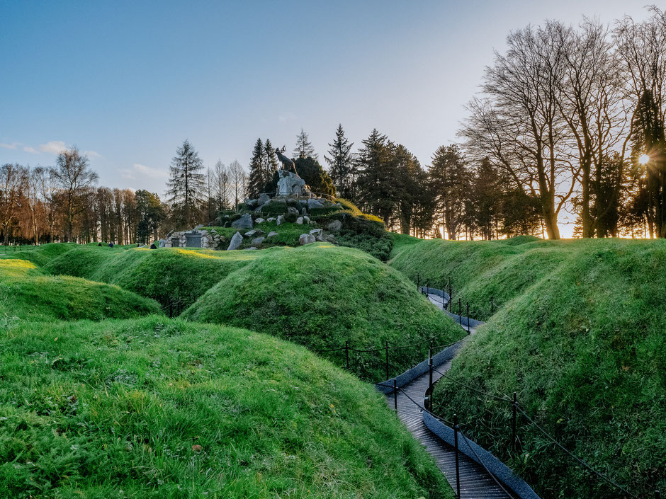 The trenches and the Caribou monument
