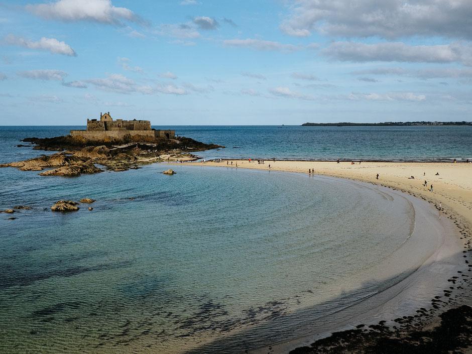 Ramparts, Plage de l'éventail, Petit bé, Grand bé, Fort national, Saint-Malo, Bretagne, Brittany